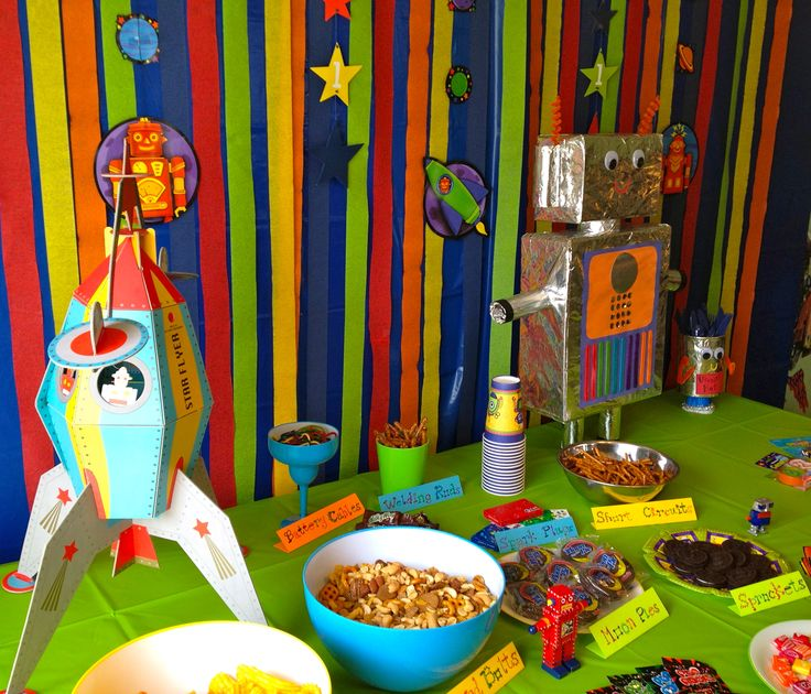 Robot themed birthday party food table