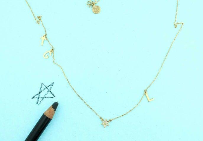 Colar em prata 925 banhada a ouro 18kl com zirconias  #personalizar #nomes #letras #roseblossom