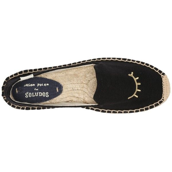 Soludos Wink Embroidery SM Slipper (Black/Gold) Women's Slip on  Shoes ($75) ❤ liked on Polyvore featuring shoes and slippers