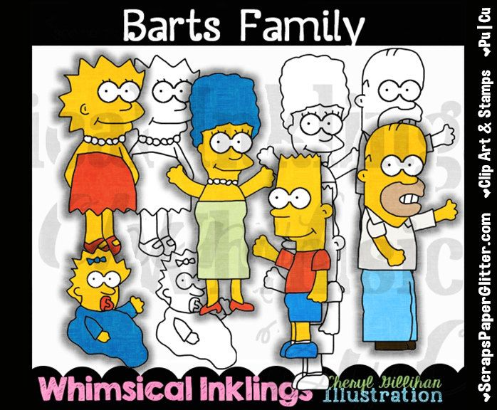 Barts Simpson FamilyClip Art, BONUS Lineart, Commercial Use, Digital Stamps, Clipart, Black & White, Movie, TV, Show, Cartoon, Network by ResellerClipArt on Etsy