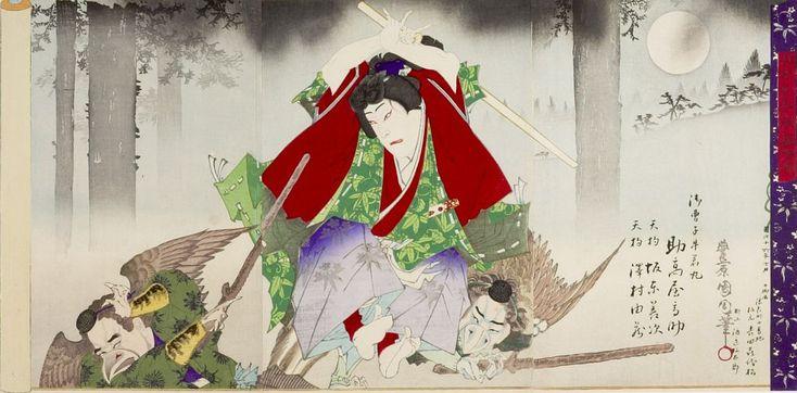 Toyohara Kunichika: Triptych: Ushiwaka (Minamoto Yoshitsune) Battling Tengu (Mitate setsu-getsu-ka no uchi kurama zuki), Meiji period, dated 1883 - Harvard Art Museum