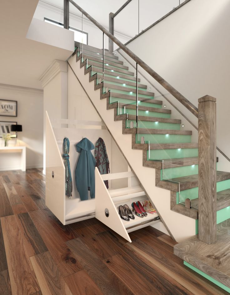 'Duck Egg' coloured risers with LED tread lighting make this space saving staircase stand out.