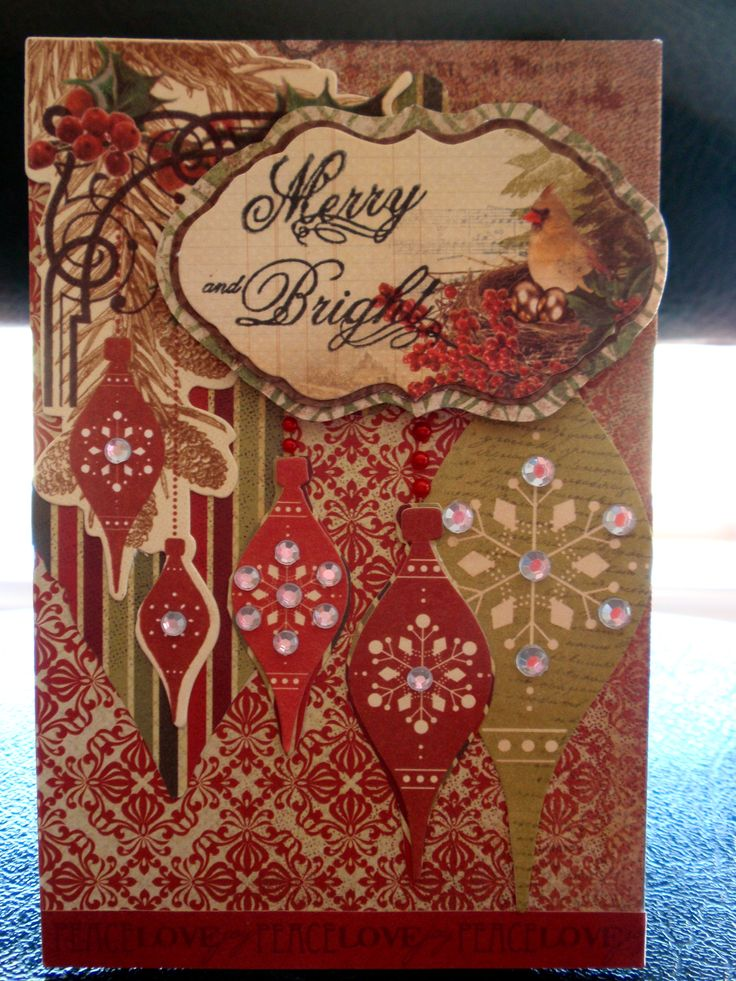 Merry and Bright Christmas card with baubles. I have highlighted the snowflake design of the baubles with rhinestones.