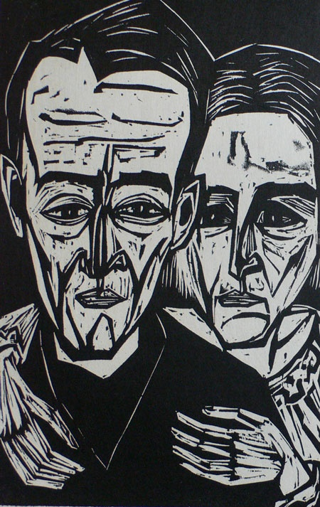 """Portrait of Rico and Lilly Jenny"" woodcut by August Hermann Scherer. Tags: People, Human, Face, Linocut, Cut, Print, Linoleum, Lino, Carving, Block, Woodcut, Helen Elstone."