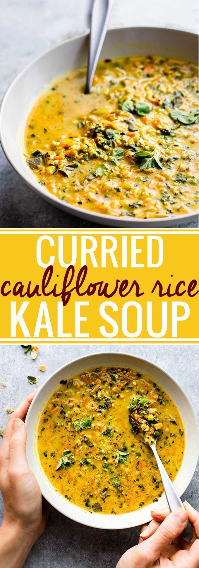 "This Curried Cauliflower Rice Kale Soup is one flavorful healthy soup to keep you warm this season. An easy paleo soup recipe for a nutritious meal-in-a-bowl. Roasted curried cauliflower""rice"" with kale and even moreveggies to fill your bowl! A delicio"