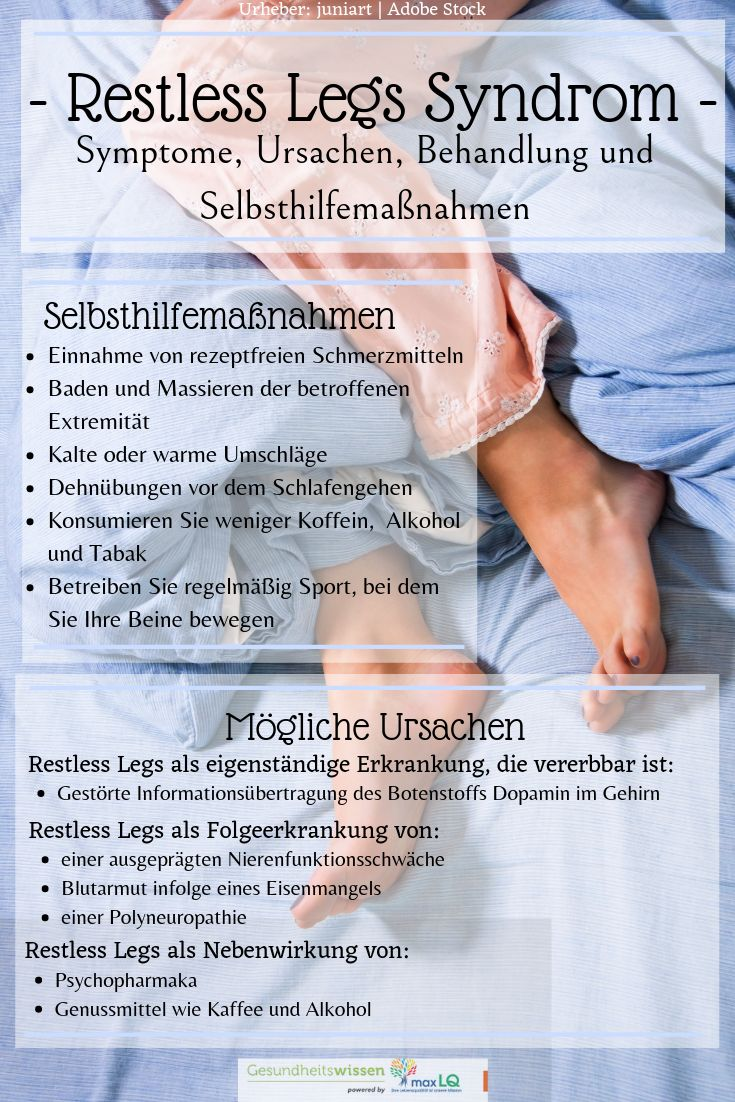 Restless Legs Syndrom: Symptome, Ursachen & Behandlung der unruhigen Beine & Selbsthilfemaßnahmen