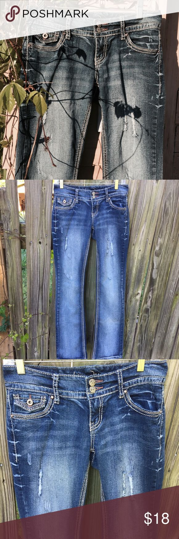 Ariya Women's distressed Jeans Distressed denim, love it, it's a definite closet staple for many different casual looks, these Ariya  jeans are in EUC, fabric is soft and comfortable, button pockets in the back Ariya Jeans Straight Leg