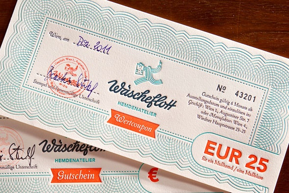 Letterpress stationary (coupon) for a Vienna shirt tailor workshop.