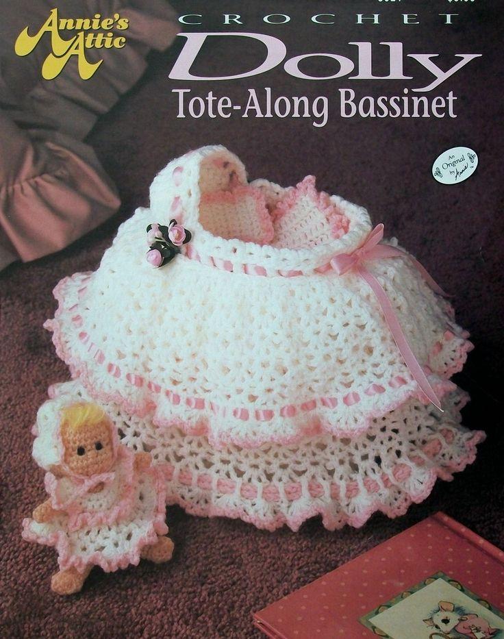doll in bassinet crochet pattern   ... Bassinet, Drawstring Purse + wardrobe, OOP HTF Crochet Pattern - Dolls