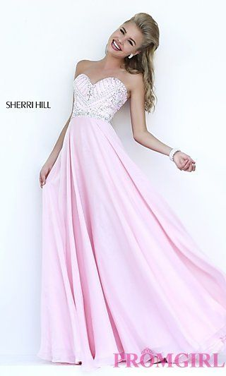 Sherri Hill Strapless Sweetheart Dress with Beaded Top  at PromGirl.com