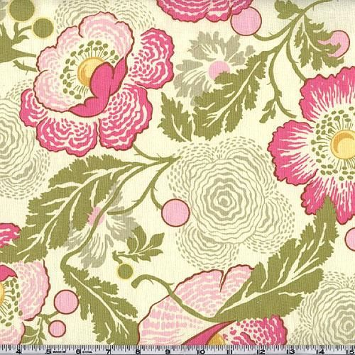 Amy Butler Midwest Modern Fresh Poppies Fuchsia from @fabricdotcom  Designed by Amy Butler for Westminster/Rowan Fabrics. Colors include olive green, pink, yellow and fuchsia on an ivory background. Create quilts, quilting projects, fashionable apparel or home decor.