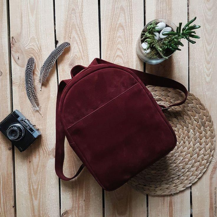 Купить Бордовый рюкзак из мягкой замши насыщенного оттенка Argo - бордовый, однотонный, марсала