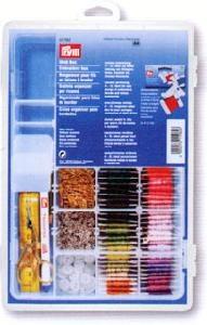 611982 >> Пластиковая коробка для рукоделия с вариабельным разделением ячеек, прозрачный