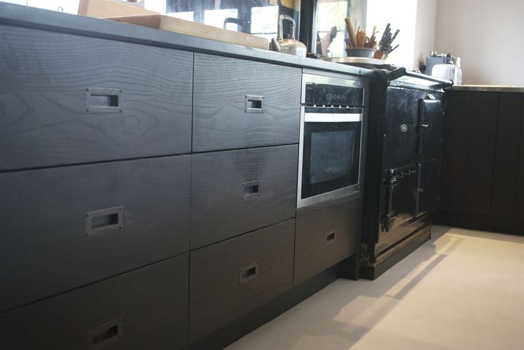 Stained Black Oak With Recessed Bronze Handles Matte