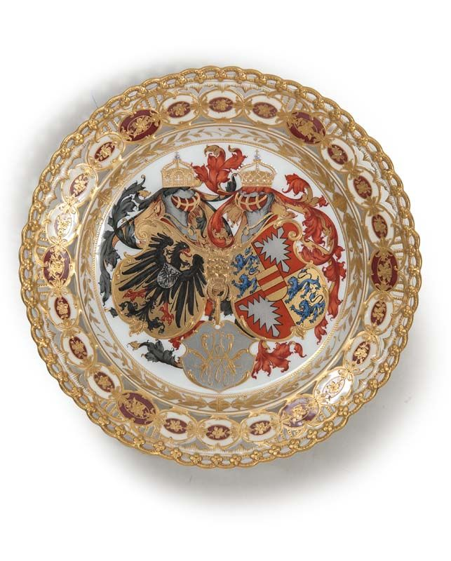 KPM Porcelain Plate with Coat of Arms.