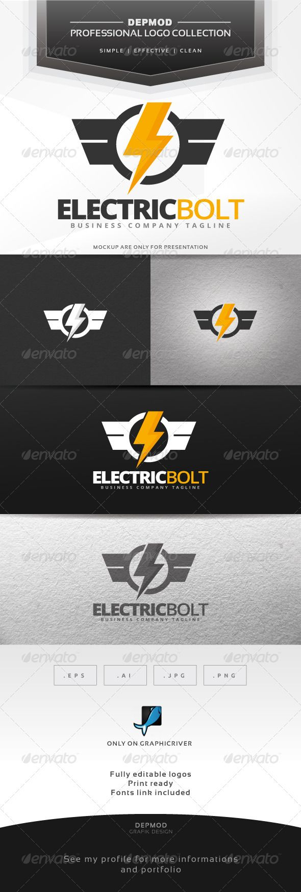 Electric Bolt Logo — Vector EPS #industry #thunder • Available here → https://graphicriver.net/item/electric-bolt-logo/7348110?ref=pxcr
