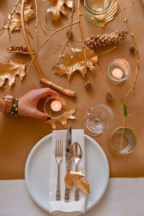 It's time to decorate for Thanksgiving! DECORATE WITH STICKS 1.  This stick table runner will add the perfect rustic tone to your Thanksgiving centerpiece.  Photo via Decorating Your Small Space.  Line these stick arrangements up down the center of your Thanksgiving table for a modern, yet rustic tablescape.