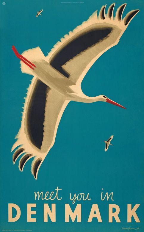 Meet you in Denmark - Tegneren Aage Sikker Hansen skabte i 1939 med sit sædvanlige sikre blik for poesien i den danske sommer og sin karakteristsike  bløde streg denne turistplakat, som skulle tiltrække udenlandske turister.