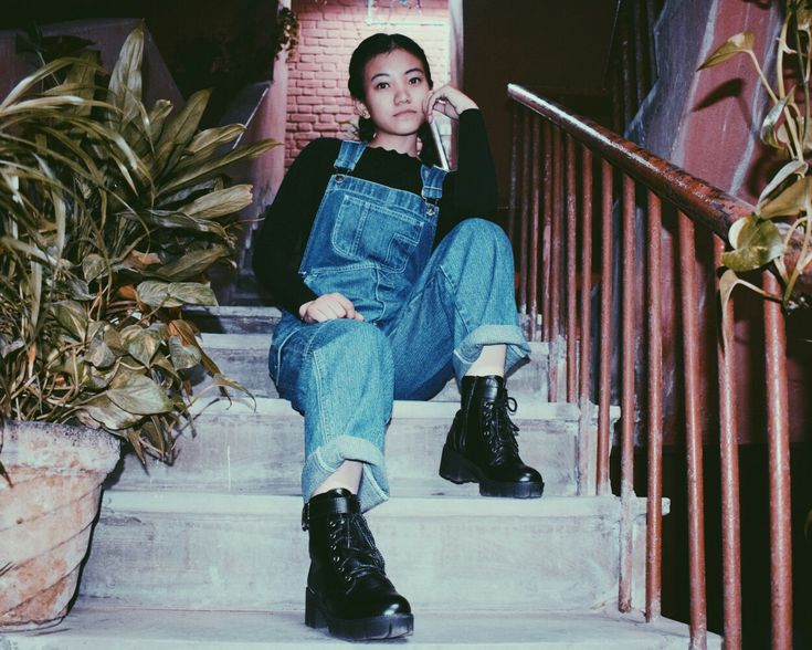 Denim Dungarees outfit with Black boots #Streetstyle #VSCO Filter P5 💞 Prachi Lepcha  📸 #Instagram: prachirongmit