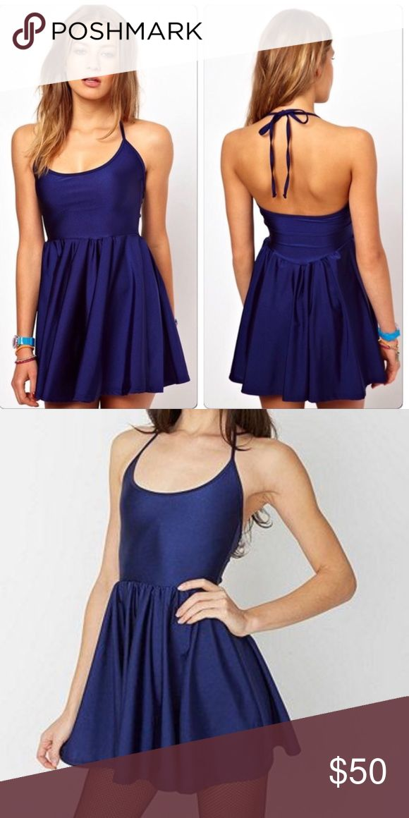 American Apparel navy skater dress Short nylon blue halter dress. Not available on the website any longer. American Apparel Dresses Mini