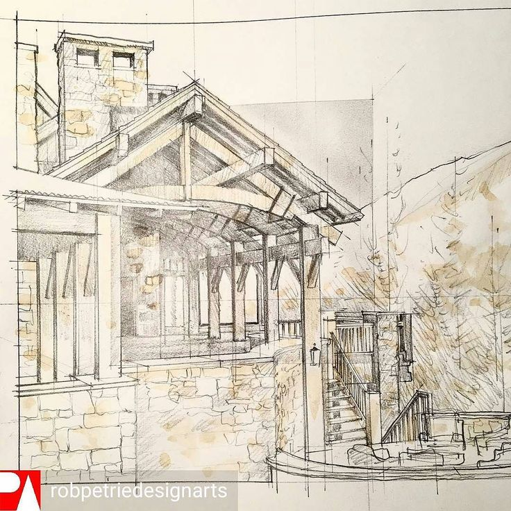 Check out this cool #architecture perspective #illustration by Rob Petrie (@robpetriedesignarts) of an awesomely ornate veranda fashioned in wood and stone and drawn with #penandink... and a splash of coffee.  For me the architectural design is reminiscent of the forest homes of J.R.R. Tolkien's elves in Rivendell or (based in reality) a Craftsman-style woodland cottage based out in the US Pacific Northwest. I imagine the smell of morning dew in the air the sound of a babbling brook nearby…