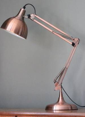 Copper against grey. Almost pink. Forest and Co Copper Angled Table Lamp