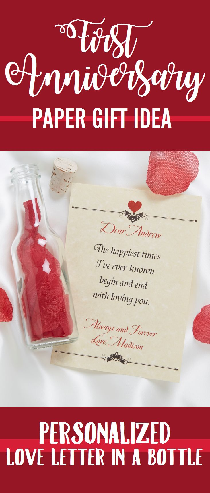 Great First Anniversary Gift idea! The traditional gift is paper so this Personalized Love Letter in a Bottle is perfect! It's so romantic, sweet and affordable! LOVE IT!