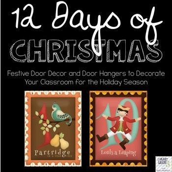 These whimsical door hanger and coordinating posters are the perfect way to add a touch of whimsical to your classroom door decor! They are also a perfect compliment for teachers wanting to add a little extra something special to their 12 Days of Christmas concert song.