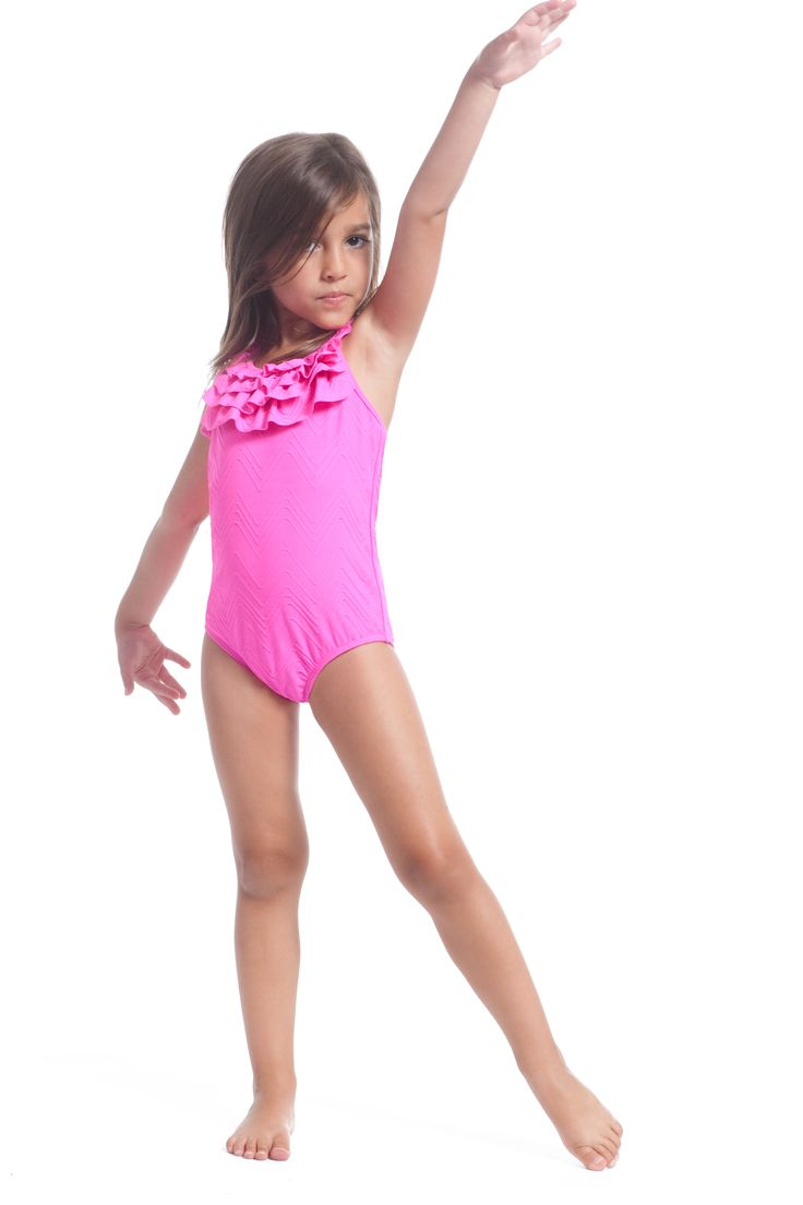 shocking pink ruffle one piece baby girl swim 2015