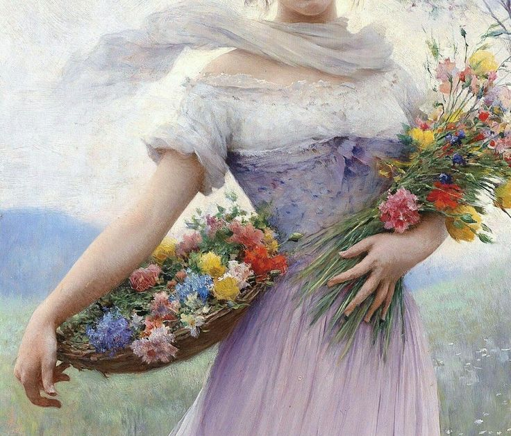Girl in a Lilac-Coloured Dress with Bouquet of Flowers (detail), Eugene de Blaas, 19th century.