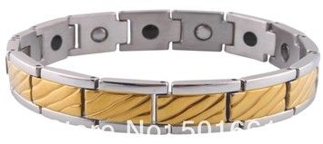 Unknown Germanium Power Gold Stainless Steel Italian Bracelet