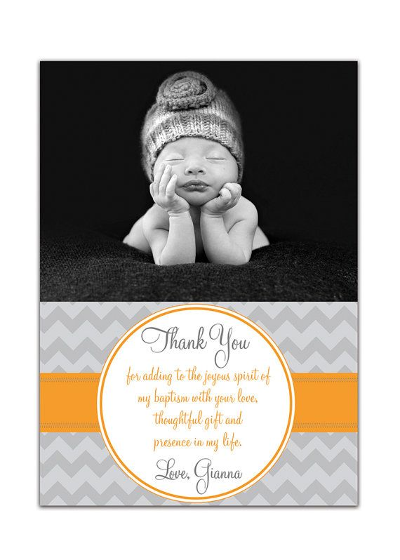 {Gianna} Photo Baptism or Christening Thank You Card - Girl or Boy Modern Chevron   http://www.etsy.com/listing/84335522/photo-baptism-thank-you-card-photo