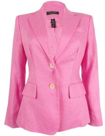 Lauren Ralph Lauren Flap-Pocket Linen Blazer 4P, Daylily Pink