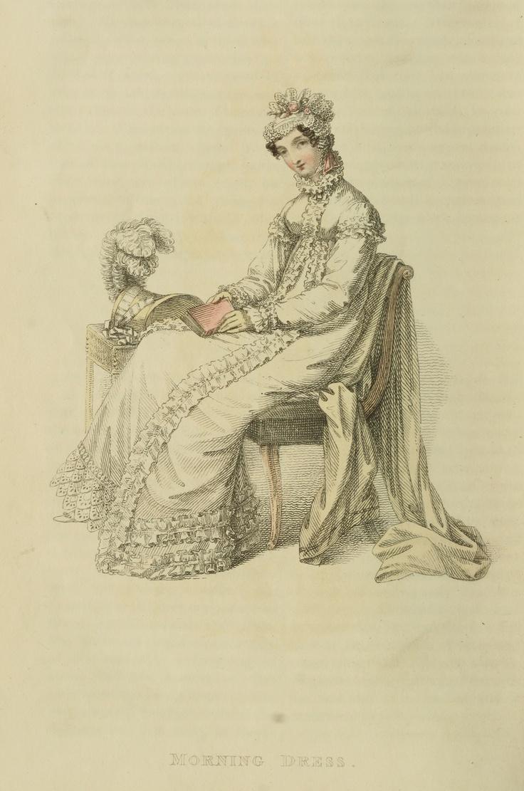 Regency fashion plate the secret dreamworld of a jane austen fan - White Morning Gown And Pelisse 1818 Ackermann
