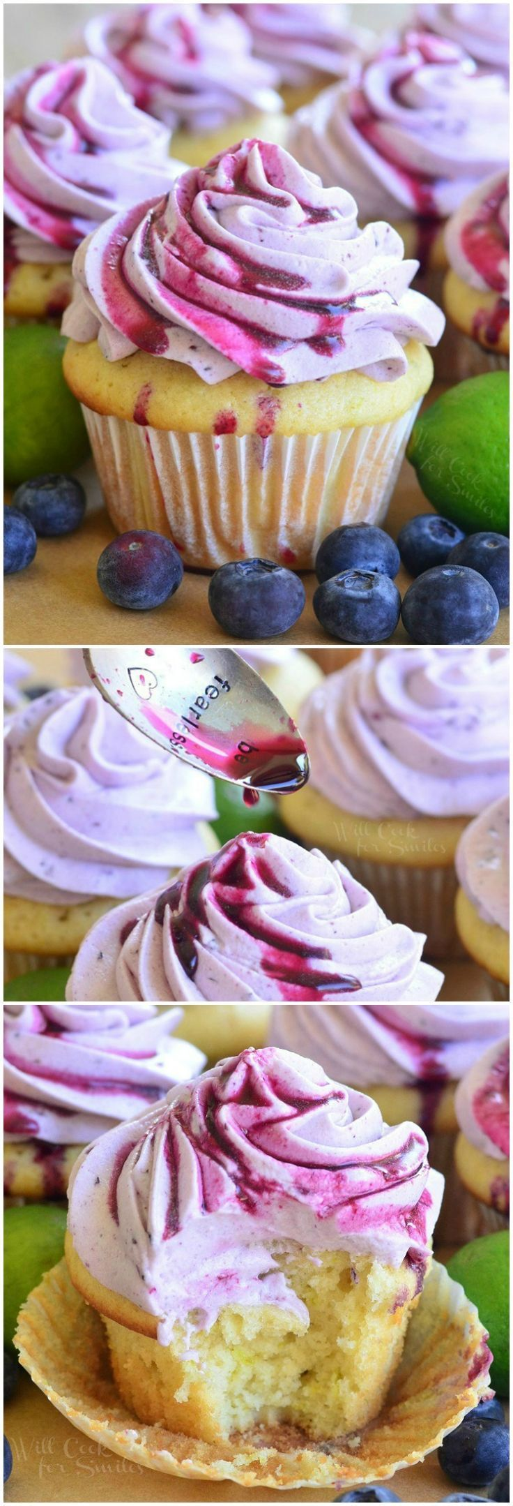 Blueberry Key Lime Cupcakes Key Lime Cupcakes with Fresh Blueberry Cream Cheese Frosting! from http://willcookforsmiles.com #dessert #spring