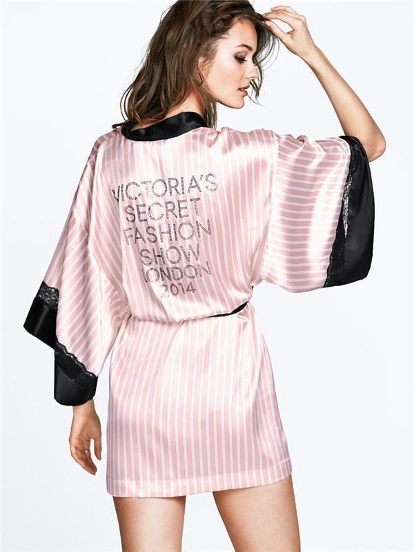 2017セクシーな女性ピンクバスローブ柔らかいシルクスリップサテンローブ用パジャマパーティーホットダイヤモンド女性ナイトガウンピンク縞模様パジャマ