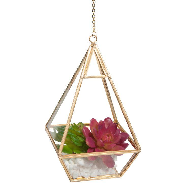 Mini-terrarium en verre et métal PYRAMIDE