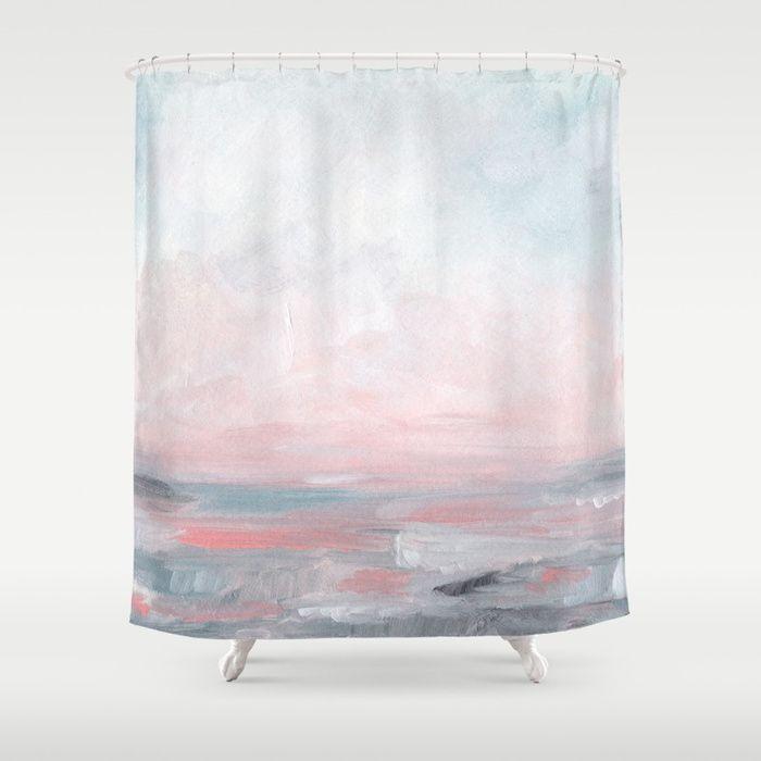Stormy Seas Gray Pink Seascape Shower Curtain By Kristenlaczi
