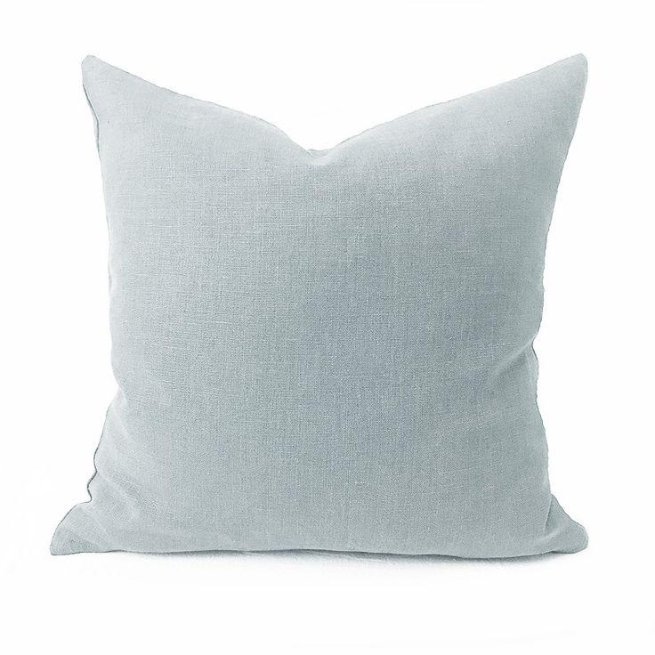 Plain Linen Cushion Light Grey Blue-Grey Plain Cushion