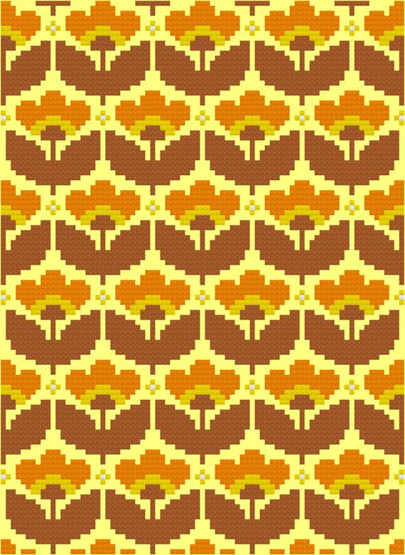 Cross Stitch Pattern, 'Mellow Yellow' PDF. Inspired by the floral designs found on vintage fabric and wallpaper of the 1960s and 70s, this