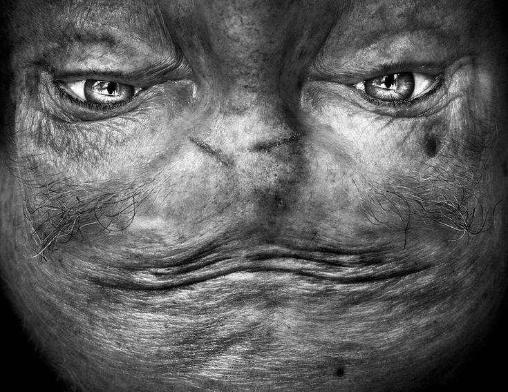 faces flipped upside down turn human features into alien-like creatures