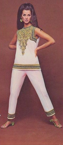 Fashion, 1960s pant suit white green boho ethnic look vintage fashion model magazine embroidered shoes sandals