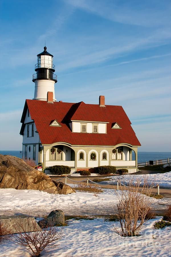 Lighthouse In Winter, Maine