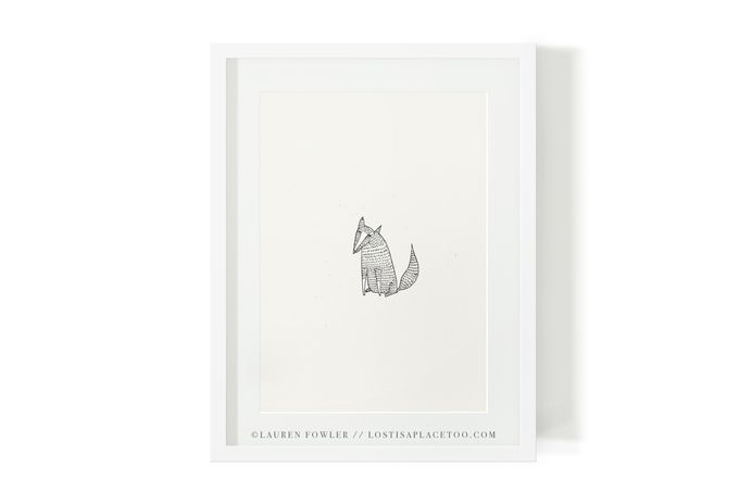 Line drawings. Stunning. Foxes A5 Art Print by Lauren Fowler via hellopretty.co.za