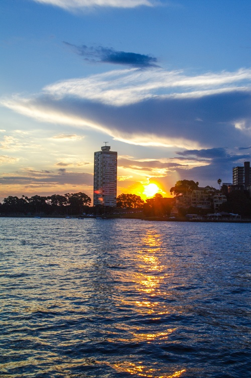 Blues Point Tower by Harry Seidler.  Sydney Sunset