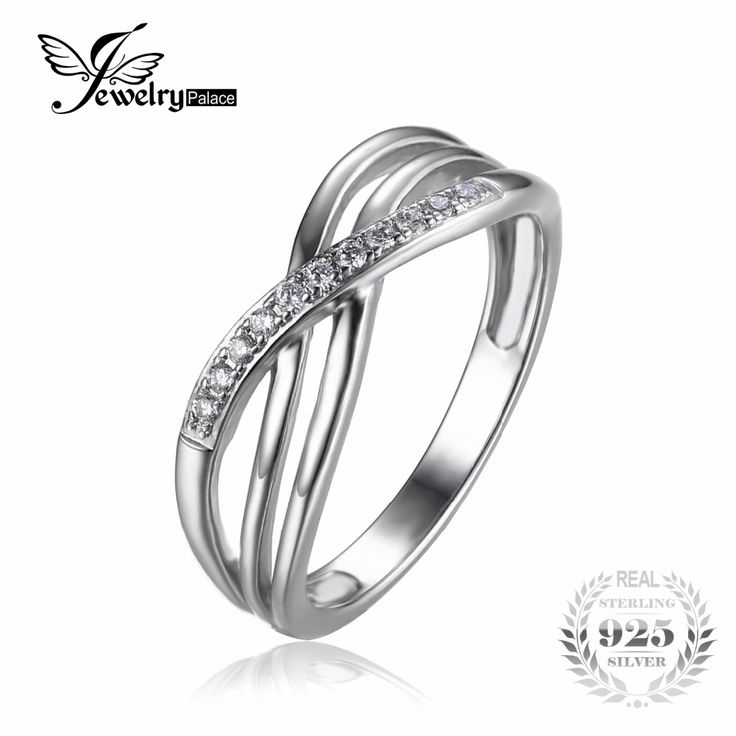 JewelryPalace Infinity Knot Cubic Zirconia Anniversary Promise Wedding Band Ring 925 Sterling Silver Women Jewelry Vintage Gift