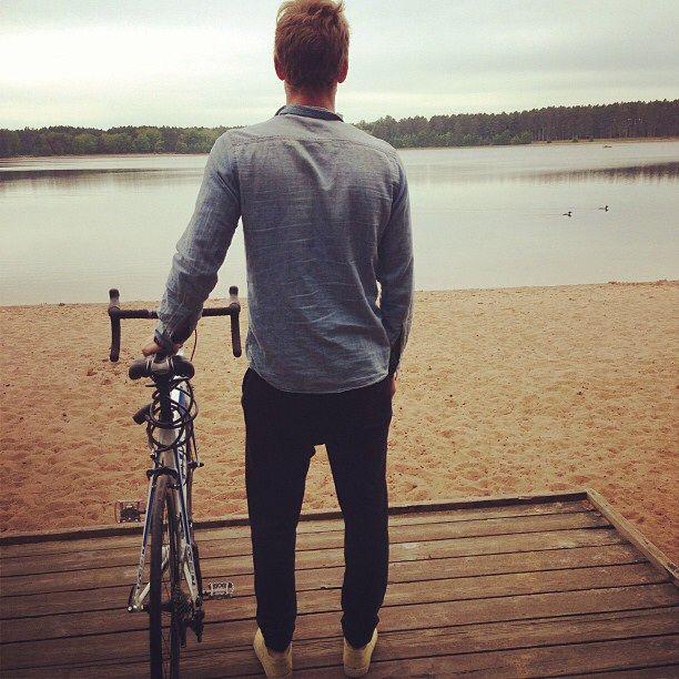 guy and his bike #lake #bike #guy