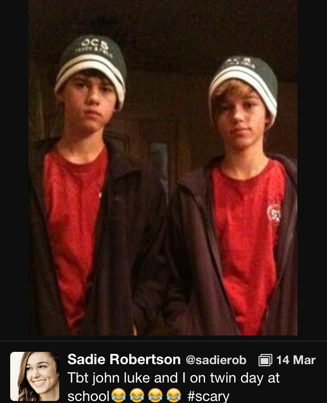 John luke and sadie robertson twins