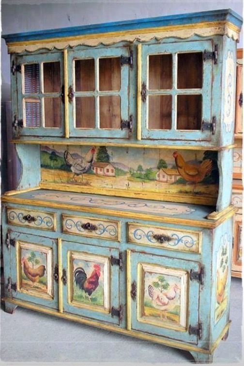 folk art painted hutch                                                                                                                                                                                 More