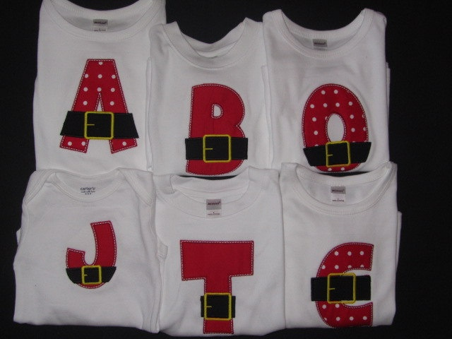 Santa Initial Christmas Shirt Boy or Girl